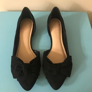 Kelly and Katie black faux suede flats
